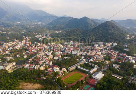 Yuchi, Taiwan - July 13th, 2020: aerial view of city scenery of Yuchi township, Nantou, Taiwan