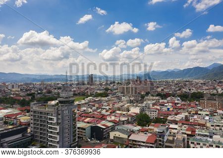 Puli, Taiwan - July 11th, 2020: aerial view of Puli town cityscape at Nantou, Taiwan, Asia