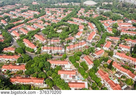 Caotun, Taiwan - October 31th, 2019: aerial view of street scenery with old house and trees at Zhongxing New Village, Nantou, Taiwan