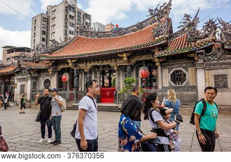 Taipei, Taiwan - October 20th, 2019: famous attraction of Lungshan temple at Taipei, Taiwan