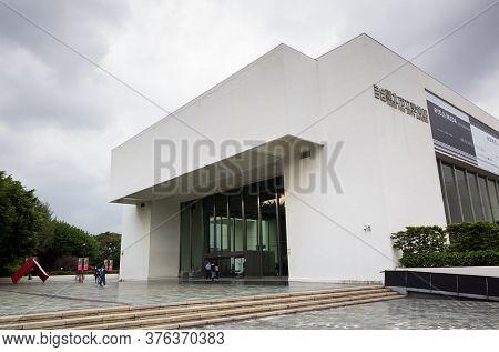 Taipei, Taiwan - October 19th, 2019: modern architecture exterior of Taipei Fine Art Museum, Taipei, Taiwan