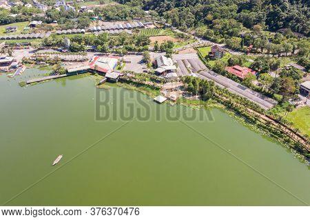 Puli, Nantou - September 3rd, 2019: landscape of famous lake of Liyu Tan at Puli, Nantou, Taiwan