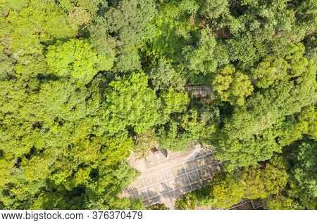 Puli, Taiwan - September 13th, 2019: aerial view of the stele of Taiwan's Geographical Center, Puli township, Nantou, Taiwan