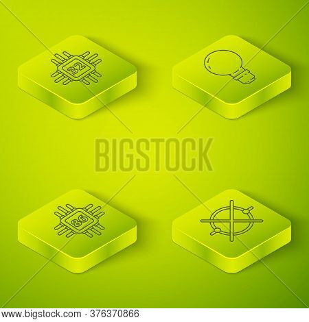 Set Isometric Light Bulb With Concept Of Idea, Processor With Microcircuits Cpu, Electric Circuit Sc