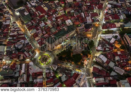 Nantou, Taiwan - September 25th, 2019: night scene landscape in aerial view of Puli town with buildings, Nantou, Taiwan