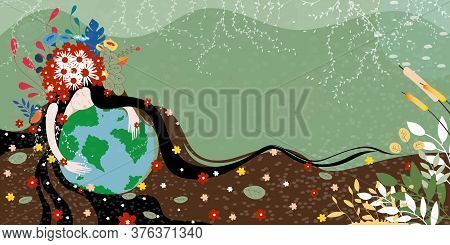 Mother Earth Day Poster With Hand Holding Planet,nature Fo Woman. Cute Cartoon Vector Girl With Wild
