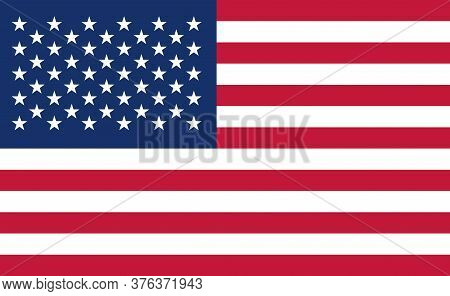 Usa National Flag In Exact Proportions - Vector