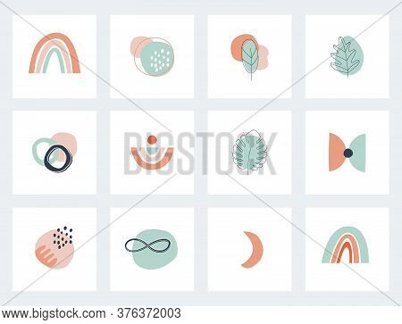 Social Network Highlights Cover. Abstract Boho Earthy Terracotta And Mint Shapes And Elements. Vecto