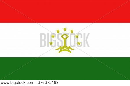 Tajikistan National Flag In Exact Proportions - Vector