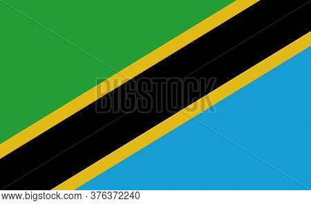 Tanzania National Flag In Exact Proportions - Vector