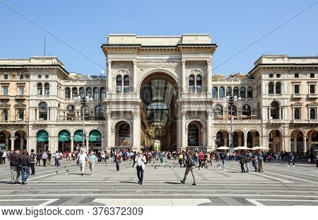 Milan, Italy - April 17, 2018. Shoppipng Center - Galleria Vittorio Emanuele Ii. View Of The Duomo S