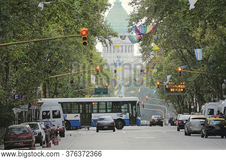 Buenos Aires, Argentina - April 14, 2013: View Of The Historical Center City Street By National Cong