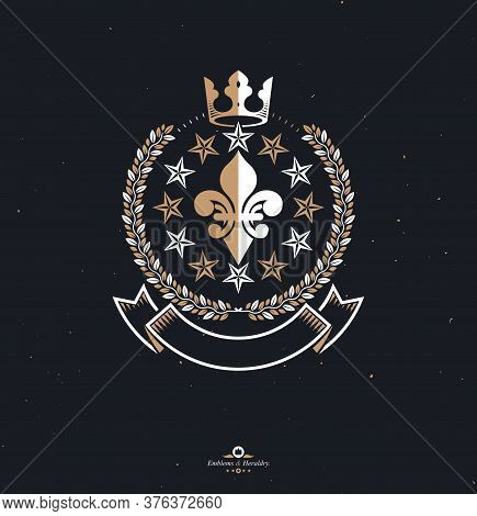 Pentagonal Stars Emblem, Union Theme Symbol Created With Royal Crown And Laurel Wreath. Heraldic Coa