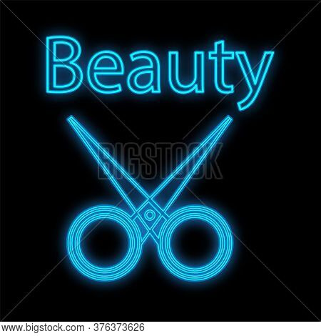 Scissors For Manicure And Pedicure, Hairdressing Neon And Blue On A Black Background. Sharp Scissors