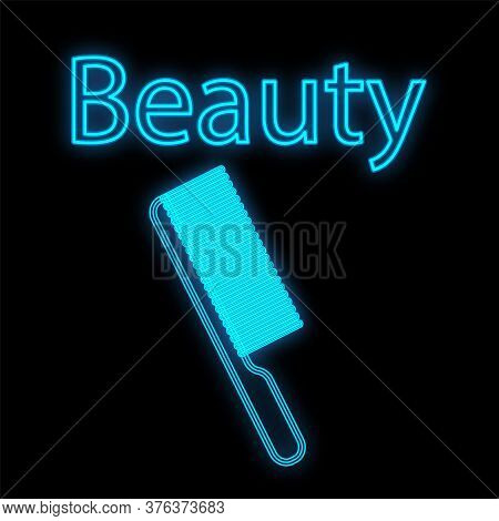 Blue Neon Cute Comb On A Black Background. Tool For Styling Hair And Creating Hairstyles. Comb For L