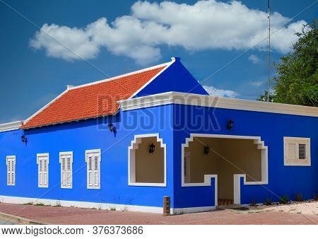 Details Of A Colorful Plaster Building On Bonaire