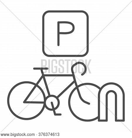 Parking For Cyclists Thin Line Icon, Outdoor Sport Concept, Parking For Bike Sign On White Backgroun