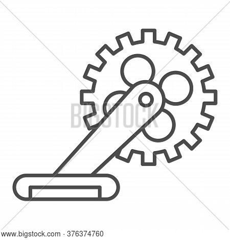 Gear With Pedal Thin Line Icon, Bicycle Concept, Bicycle Crank Sign On White Background, Bicycle Ped
