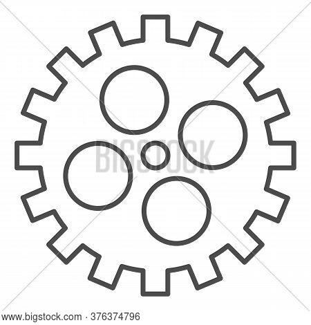 Bike Gear Thin Line Icon, Bicycle Details Concept, Bicycle Crank Sign On White Background, Bicycle G