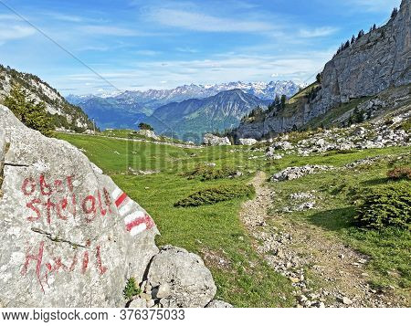 Mountaineering Signposts And Markings On Peaks And Slopes Of The Pilatus Mountain Range And In The E
