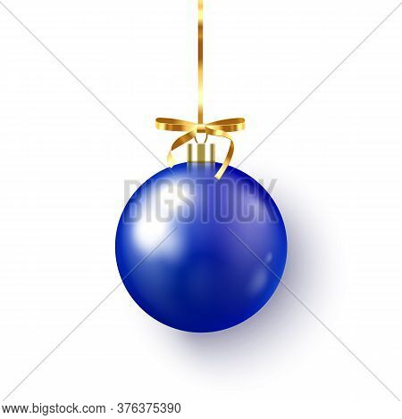 Blue Christmas Bauble With Ribbon And Bow On White Background. Vector Illustration