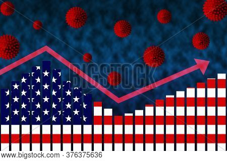 3d Rendering Of Flag Of Us On Bar Chart Concept Of Covid-19 Coronavirus Second Wave Infection Cases