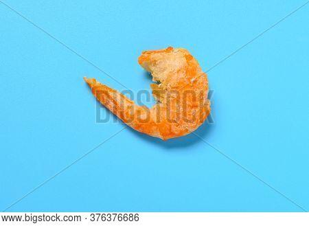 Big Size Dry Shrimp On A Blue Background