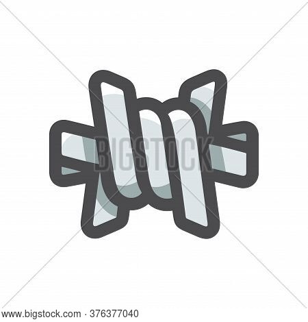 Barbed Wire. Twisted Rod Vector Cartoon Illustration