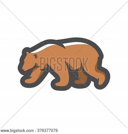 Bear. Forest Brown Predator Vector Cartoon Illustration