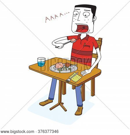 Man Eats Some Food On A Table