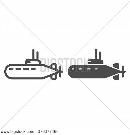 Submarine Line And Solid Icon, Nautical Concept, Underwater Boat Sign On White Background, Submarine
