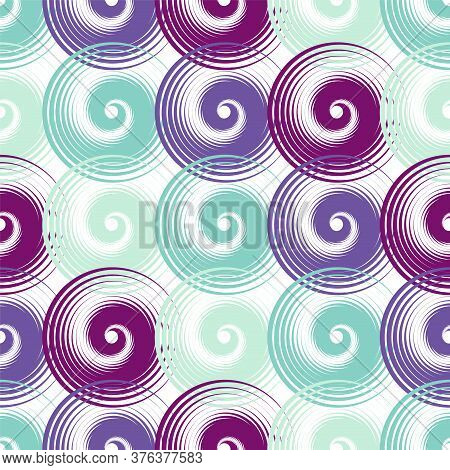 Spiral Swirls Purple Complicated Seamless Pattern Vector Design. Round Spiral Scrolls, Circle Swirls
