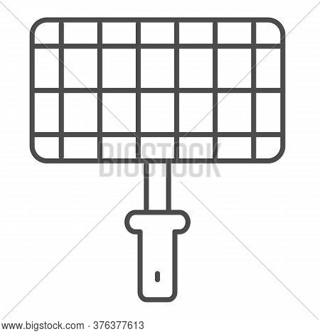 Grill Steel Grid Thin Line Icon, Picnic Concept, Barbecue Grille For Grilling Sign On White Backgrou