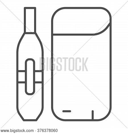 Electronic Cigarette And Battery Thin Line Icon, Smoking Concept, Vaporizer Device Sign On White Bac
