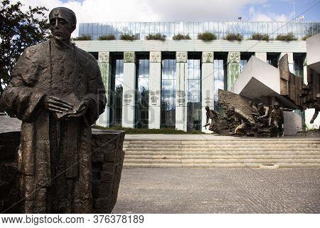 Warsaw Uprising Monument Or Pomnik Powstania Warszawskiego Statue In Krasinski Square For Polish Or