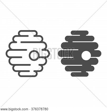 Natural Beehive Line And Solid Icon, Honey Concept, Nest Of Bees Or Wasps Sign On White Background,
