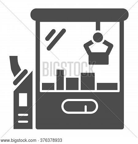 Toy Machine Solid Icon, Amusement Park Concept, Crane Game Sign On White Background, Claw Crane Mach