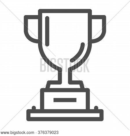 Winner Cup Line Icon, Sports And Competition Concept, Trophy Sign On White Background, Champion Cup