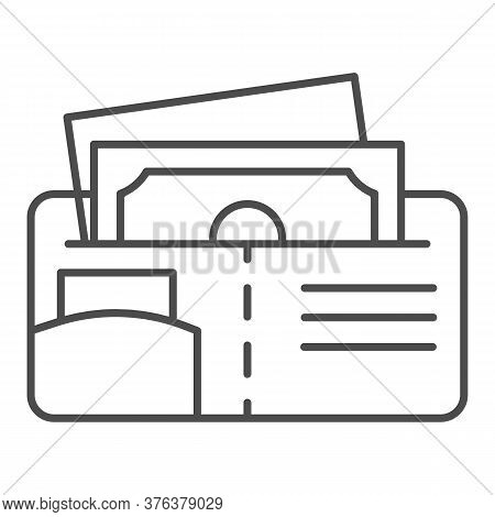 Money Wallet Thin Line Icon, Finance Concept, Open Wallet With Banknotes And Credit Card Sign On Whi