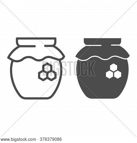 Can Of Honey Line And Solid Icon, Beekeeping Concept, Natural Honey In Pot Sign On White Background,