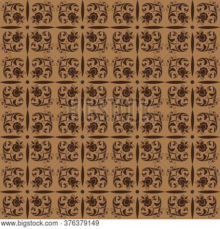 Unique Pattern Design On Javanese Batik With Seamless Brown Color Design