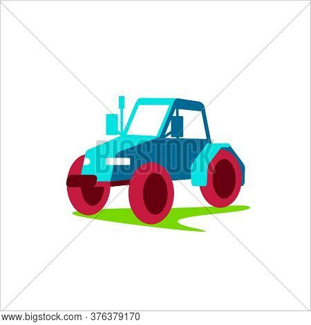 Farm Tractor Agricultural Transport. Heavy Machinery For Field Work And Harvesting. Agriculture And