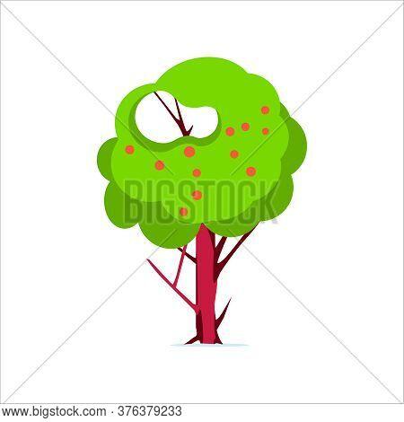 Apple Tree With Red Apples. Fruit Paradise Tree, Apple Orchard Element. Organic Gardening, Eco Farmi