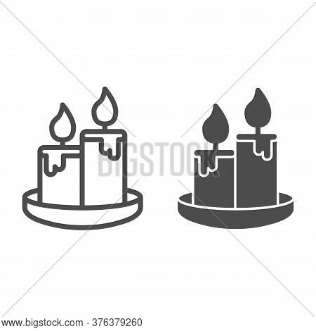 Wax Candles Line And Solid Icon, Honey Concept, Two Burning Candle Sign On White Background, Candles