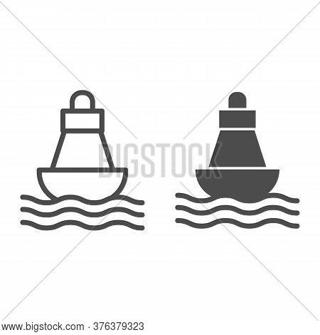 Buoy Line And Solid Icon, Nautical Concept, Sea Buoy Floating On Waves Sign On White Background, Nau