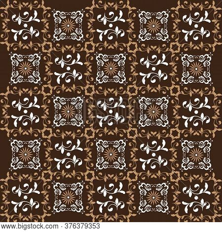 Modern Flower Motifs On Jogja Batik With Simple White Brown Color Design