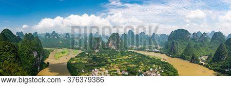 Karst mountain landscape in Xingping, Guangxi Province, China.