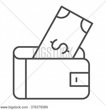 Wallet With Dollar Thin Line Icon, Finance Concept, Money Wallet Sign On White Background, Wallet Wi