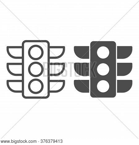 Traffic Lights Line And Solid Icon, Navigation Concept, Traffic Light Signal Sign On White Backgroun