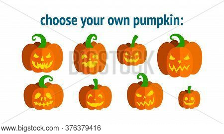 Halloween Pumpkins Of Different Forms With Carved Faces. Choose Necessary Pumpkin Design. Vector Ill